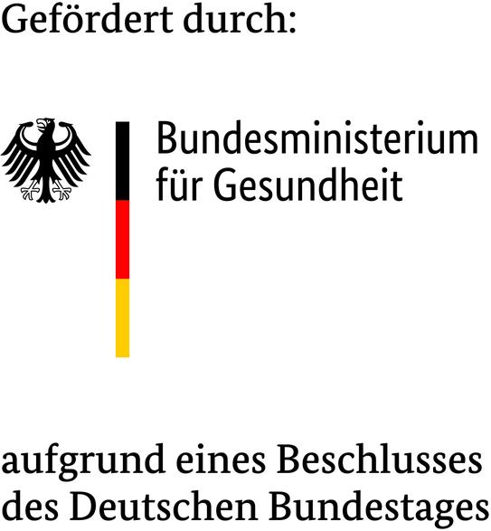 Logo mit Hinweis auf Förderung durch das Bundesministerium für Gesundheit